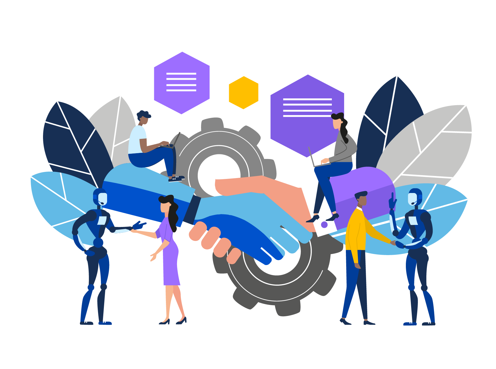 Illustrated image of students shaking hands with robots symbolizing Law Student Connect using artificial intelligence to match law students with legal employers.
